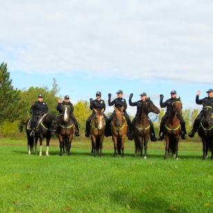 Huron Township Clerk Kathlene Van Wasshnova swears in the eight officers and their horses.