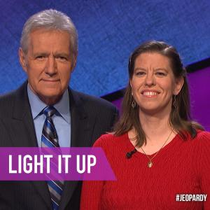 Jeopardy Host Alex Trabek and Huron High Physics Teacher Cathy Farrell. Photo source: Jeopardy Facebook page.