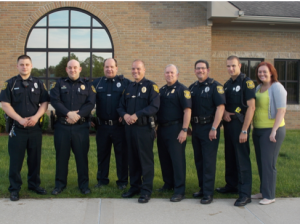 Left to right: Officer Thomas Hickman; Lt. Leo Girard; Sgt. Robert Kelch; Chief Everette Robbins; Deputy Chief Mark Perkins; Sgt. Bryan Tyitye; Officer Joshua Green; Dispatcher Meredith Foster. Photo courtesy of the Huron Township Police Department.