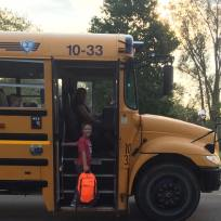 Brandon, 2nd grade, getting on the bus.