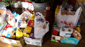 Donated items await to be distributed to families in Huron. Photo courtesy of Candace Myshock.