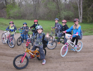 """Miller Elementary students enjoy """"Bike to School Day"""" on May 4, 2016."""