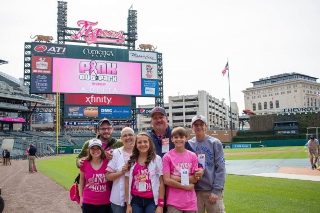 Penny Russell was named Honorary Bat Girl for the Detroit Tigers last Mother's Day during a game at Comerica Park. Photo--Go Fund Me