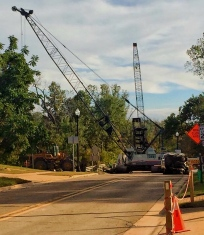 There is action at the site of the Waltz Road Bridge in Huron Township. (Photos/Facebook)